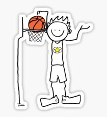 Slam dunk by a very tall basketball player - FOR LIGHT COLORED BACKGROUND Sticker