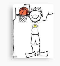 Slam dunk by a very tall basketball player - FOR LIGHT COLORED BACKGROUND Canvas Print