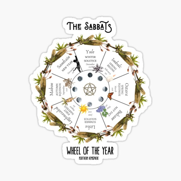 The Witch's Wheel of the Year - for Pagans and Wiccans Sticker