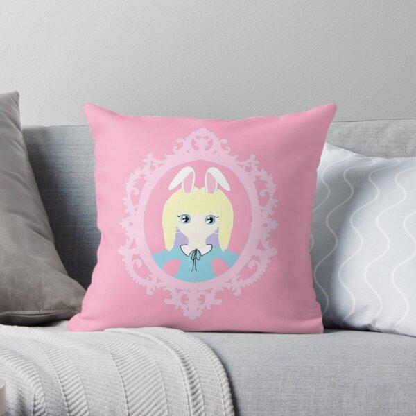 Kawaii Bunny Cosplay Girl Throw Pillow