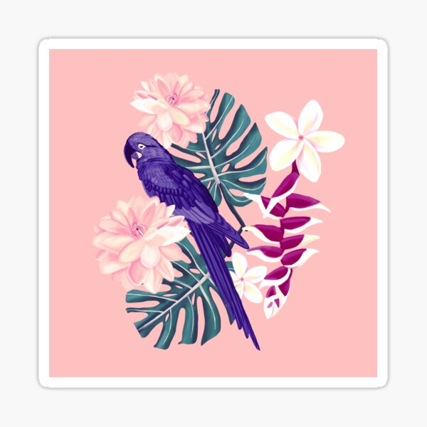 Tropical Blue Parrot With Flowers and Monstera Leaves Sticker