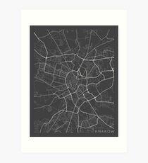 Krakow Map, Poland - Gray Art Print