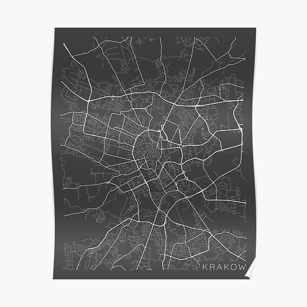 Krakow Map Posters Redbubble