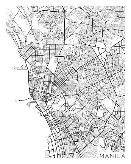 Philippines Map Black And White.Manila Map Philippines Black And White Photographic Prints By