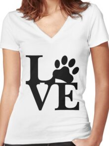 LOVE DOG PAW Women's Fitted V-Neck T-Shirt