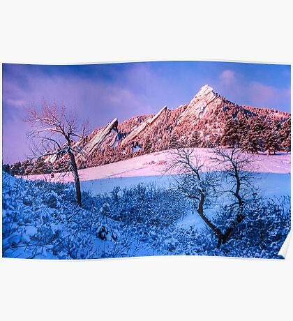 The Flatirons In Winter Blues And Pink Poster