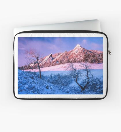 The Flatirons In Winter Blues And Pink Laptop Sleeve