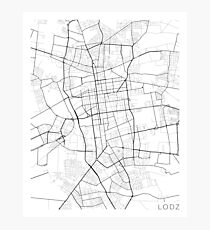 Lodz Map, Poland - Black and White Photographic Print