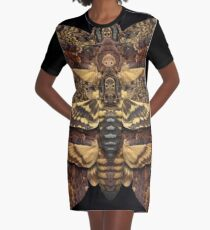 Death's Head Moth Mandala - Symmetrical Graphic T-Shirt Dress