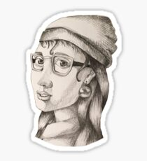 Modern Girl with a Pearl Earring Sticker