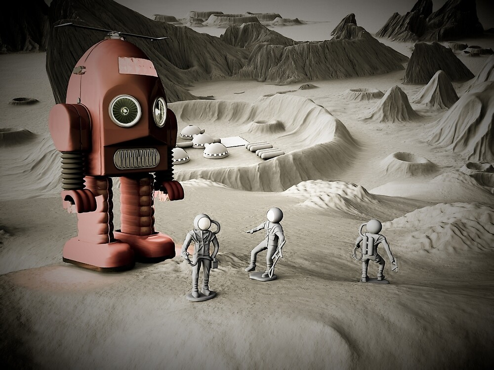 Thunder Robot and Toy Spacemen Retro Styled by mdkgraphics