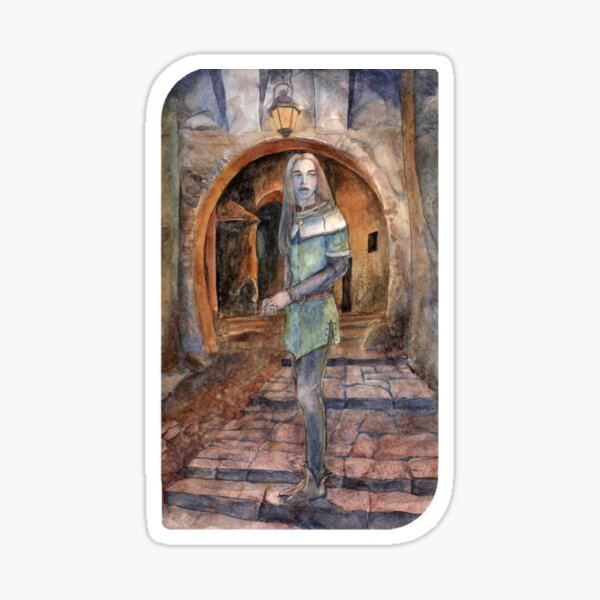 Watercolor medieval artwork Echoes from the Other Side Sticker