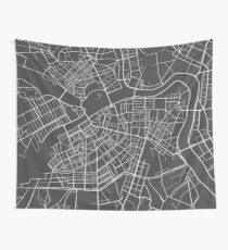 St Petersburg Map, Russia - Gray  Wall Tapestry
