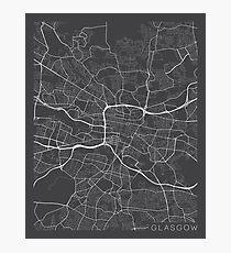 Glasgow Map, Scotland - Gray Photographic Print