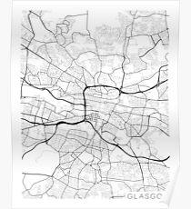 Glasgow Map, Scotland - Black and White Poster