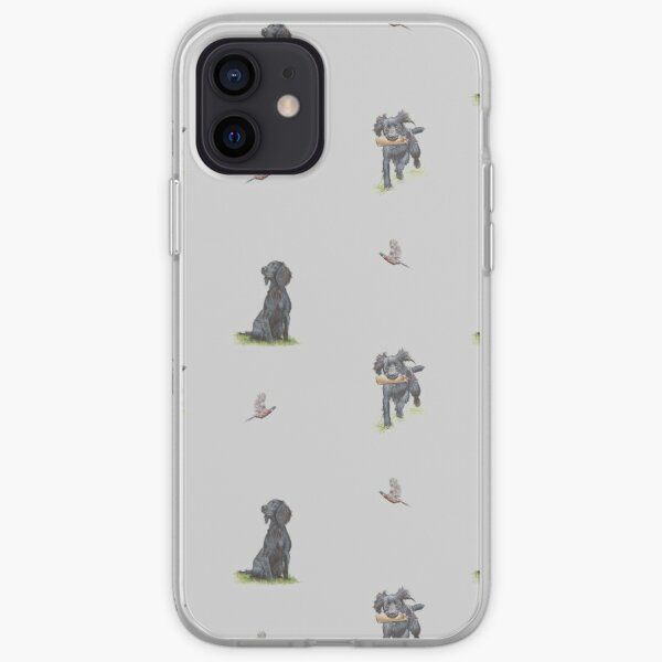 Black Cocker Spaniel Print  iPhone Soft Case