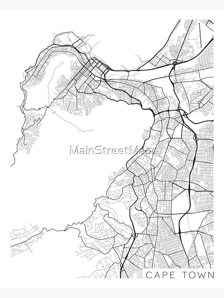 Cape Town Map, South Africa - Black and White by MainStreetMaps