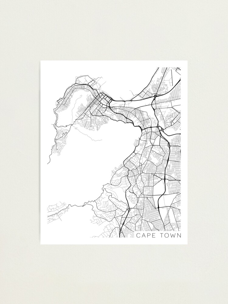 Alternate view of Cape Town Map, South Africa - Black and White Photographic Print