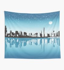 Cityscape, Skyline, Metro, Night Wall Tapestry