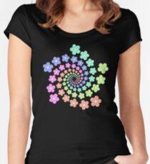 Groovy Flower Spiral - Retro 60s - Vintage 1960s - Rainbow Women's Fitted Scoop T-Shirt