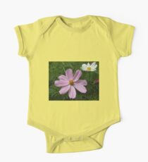 Pink and White Cosmo Flowers One Piece - Short Sleeve