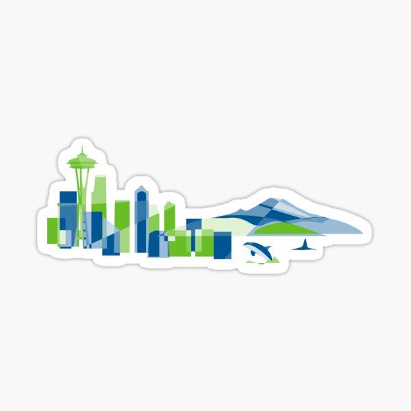 Seattle Skyline   Poly Sticker