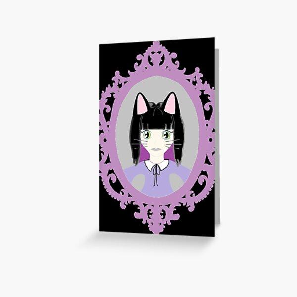 Kawaii Cat Cosplay Girl Greeting Card
