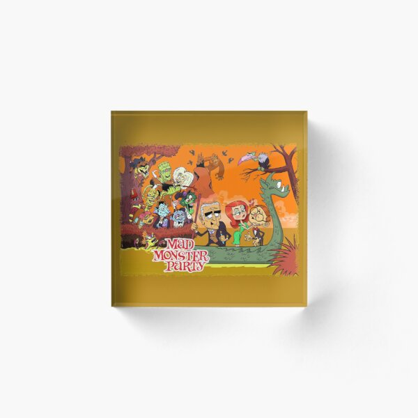 Colorful Tribute to Rankin-Bass's Mad Monster Party Animated Musical Comedy Film Acrylic Block