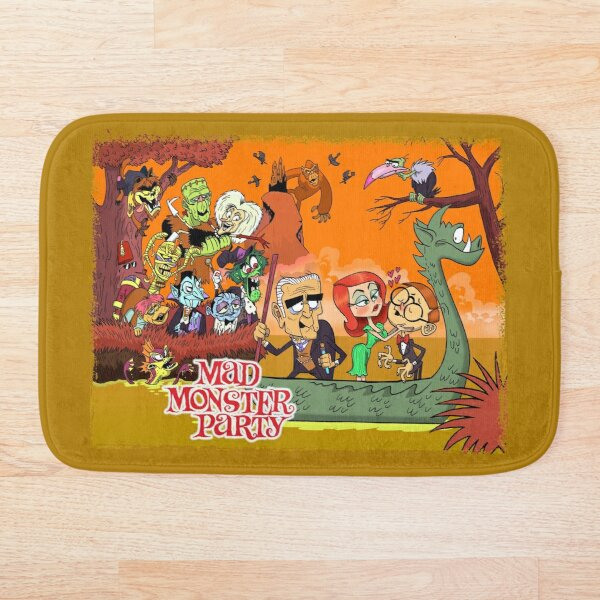 Colorful Tribute to Rankin-Bass's Mad Monster Party Animated Musical Comedy Film Bath Mat