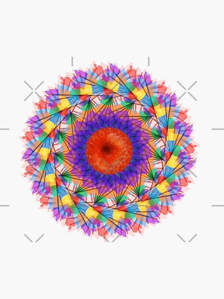 Rainbow Mandala Abstract Art by OneDayArt