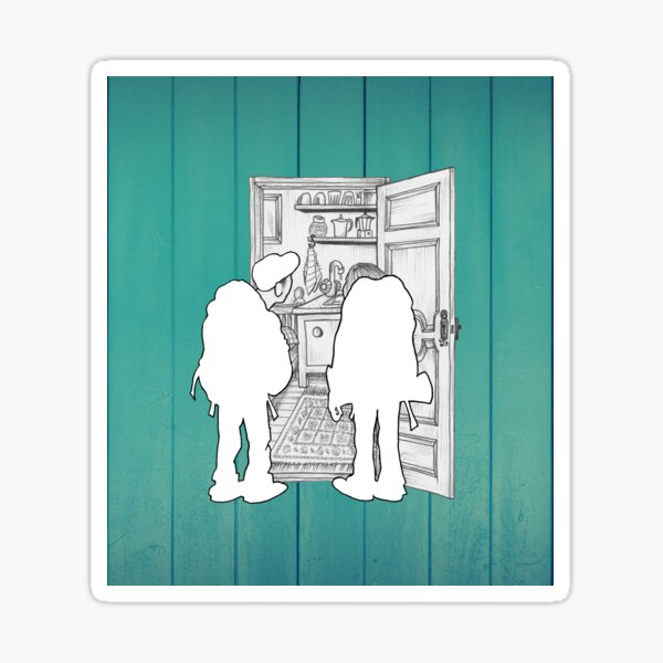 Tiny room on green background Sticker