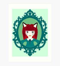 Kawaii Fox Cosplay Girl Art Print