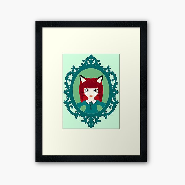 Kawaii Fox Cosplay Girl Framed Art Print