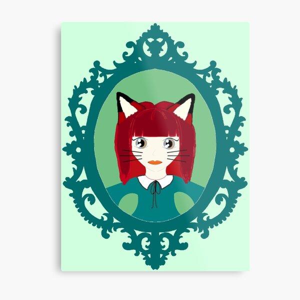 Kawaii Fox Cosplay Girl Metal Print