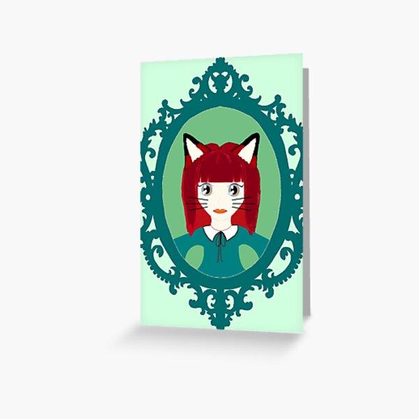 Kawaii Fox Cosplay Girl Greeting Card