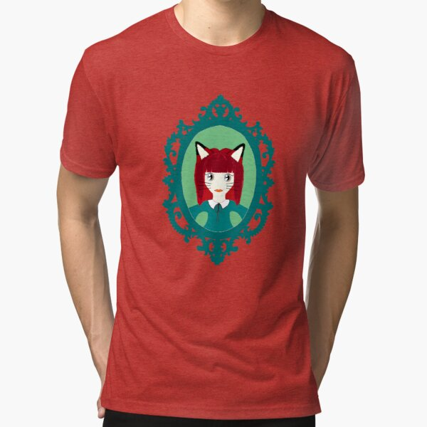 Kawaii Fox Cosplay Girl Tri-blend T-Shirt