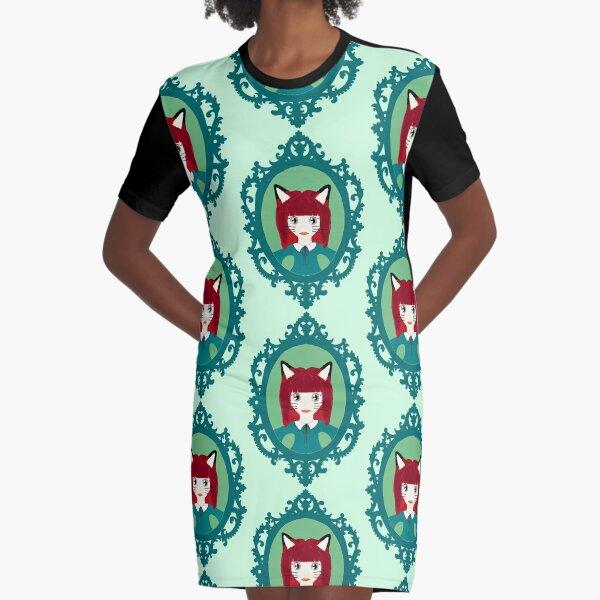 Kawaii Fox Cosplay Girl Graphic T-Shirt Dress