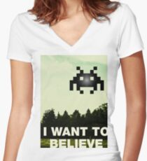 Funny gaming parody Women's Fitted V-Neck T-Shirt