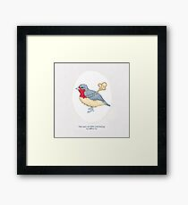Haruki Murakami's The Wind-Up BIrd Chronicle // Illustration of a Bird with a Wind-up Key in Pencil & Watercolour Framed Print