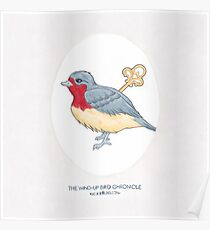 Haruki Murakami's The Wind-Up BIrd Chronicle // Illustration of a Bird with a Wind-up Key in Pencil & Watercolour Poster