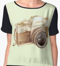 watercolor camera Women's Chiffon Top