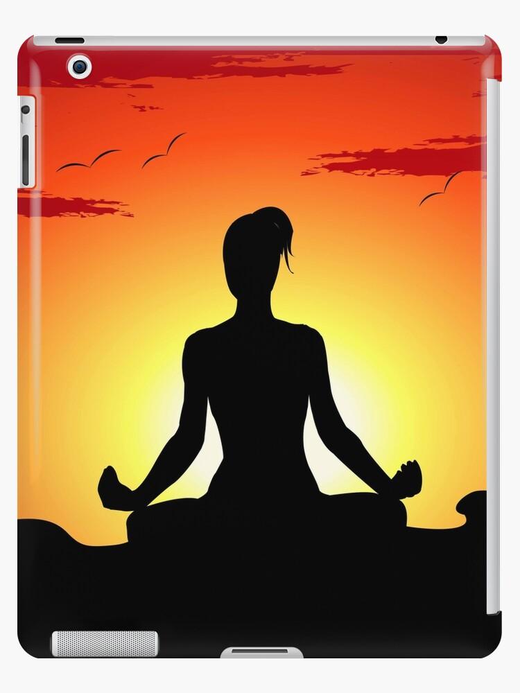 Female Yoga Meditating  by CroDesign