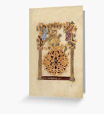 Decorated Initial D - D[eu]s qui Hodierna Die (1000 - 1025 AD) Greeting Card