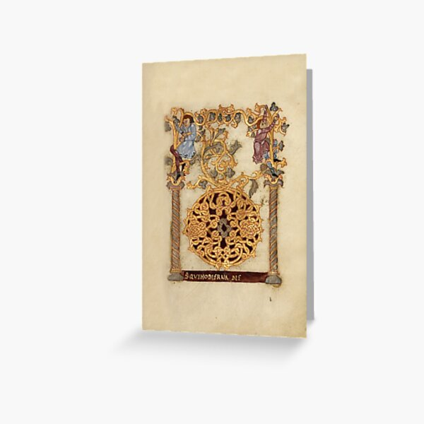 Decorated Initial D - D[eu]s qui Hodierna Die (1000 - 1025 AD) Greeting Card