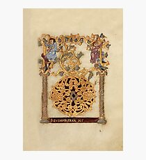 Decorated Initial D - D[eu]s qui Hodierna Die (1000 - 1025 AD) Photographic Print