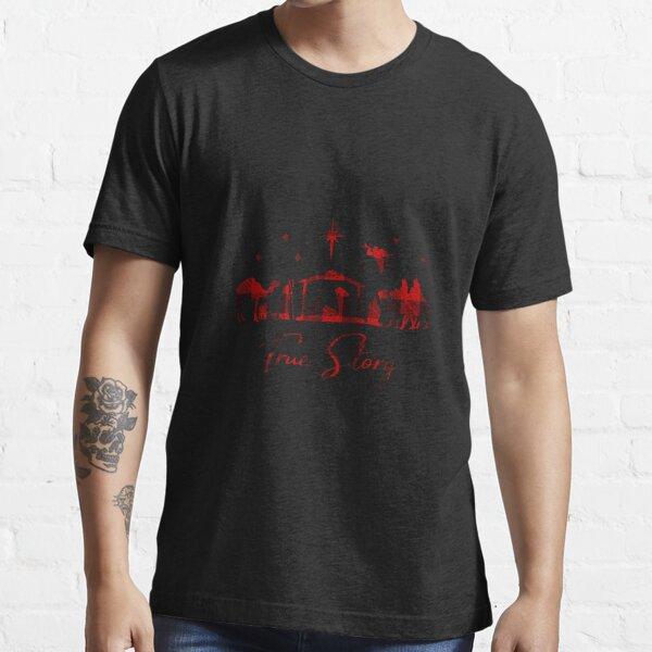 True Story Christmas Manger Nativity Catholic Buffalo Plaid Essential T-Shirt