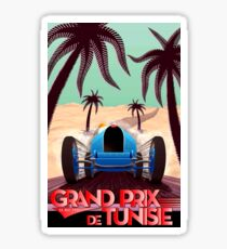 """GRAND PRIX of TUNISIA"" Vintage Auto Racing Print Sticker"
