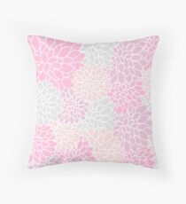 Pink And Gray Dahlia Pattern Throw Pillow