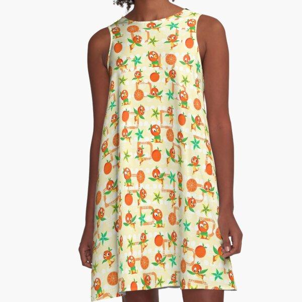 Orange Bird A-Line Dress