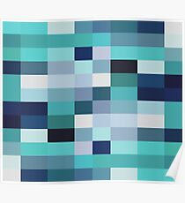 Abstraction #026 Blue White Blocks Poster